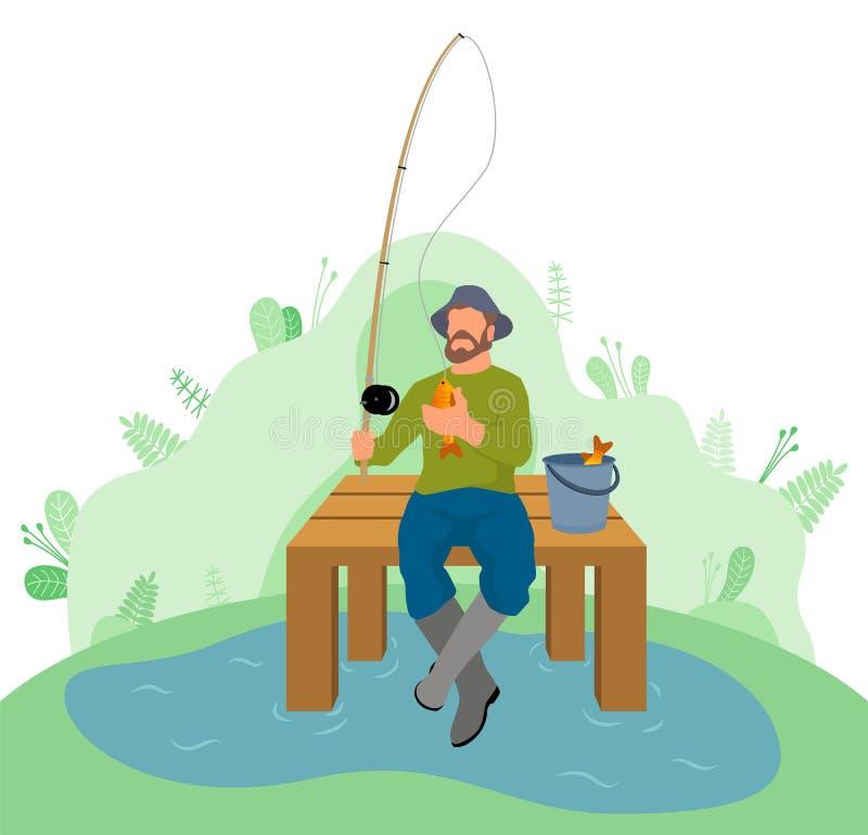Άτομο Φίσερ που κάθεται στη ράβδο και το καλάθι αλιείας αποβαθρών απεικόνιση αποθεμάτων