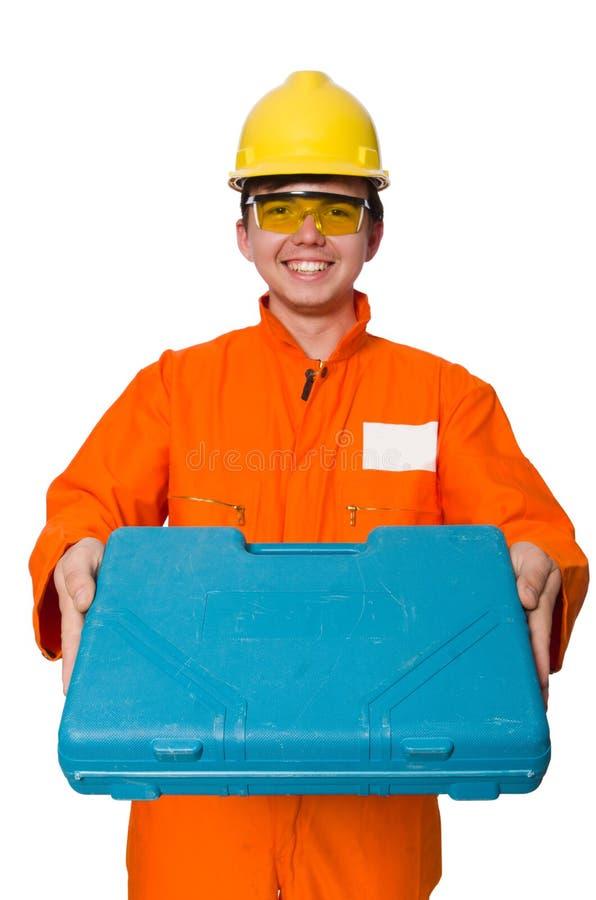 Download Άτομο φόρμες που απομονώνεται στις πορτοκαλιές στο λευκό Στοκ Εικόνα - εικόνα από laborer, καπέλα: 62705521