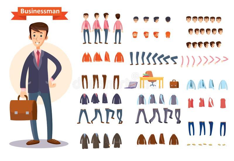 Άτομο, χαρακτήρας επιχειρηματιών που δημιουργεί το διανυσματικό σύνολο κινούμενων σχεδίων απεικόνιση αποθεμάτων