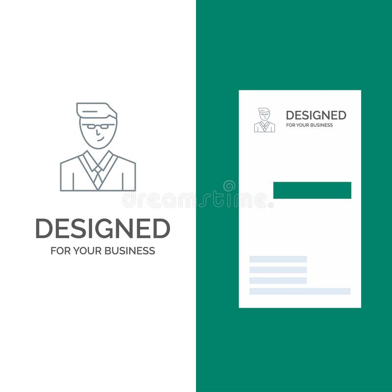 Άτομο, χρήστης, διευθυντής, γκρίζο σχέδιο λογότυπων σπουδαστών και πρότυπο επαγγελματικών καρτών διανυσματική απεικόνιση