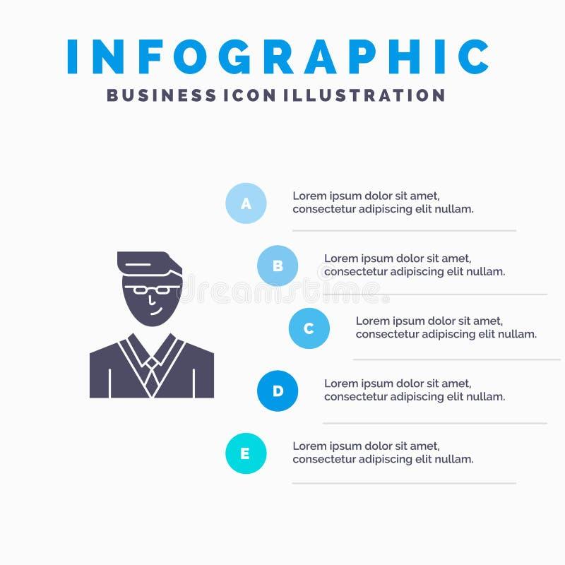 Άτομο, χρήστης, διευθυντής, στερεό εικονίδιο Infographics 5 σπουδαστών υπόβαθρο παρουσίασης βημάτων διανυσματική απεικόνιση