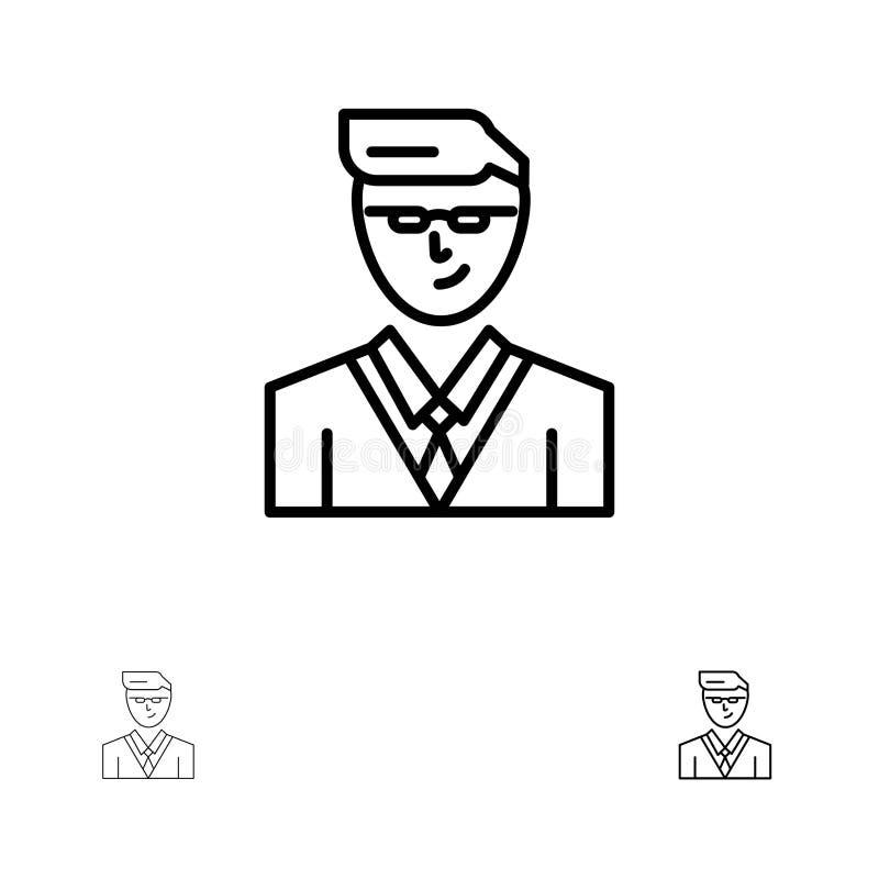 Άτομο, χρήστης, διευθυντής, τολμηρό και λεπτό μαύρο σύνολο εικονιδίων γραμμών σπουδαστών απεικόνιση αποθεμάτων