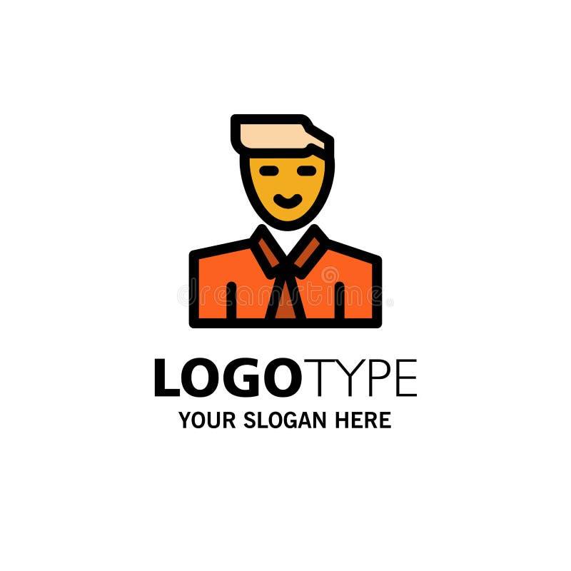 Άτομο, χρήστης, σπουδαστής, δάσκαλος, πρότυπο επιχειρησιακών λογότυπων ειδώλων Επίπεδο χρώμα ελεύθερη απεικόνιση δικαιώματος