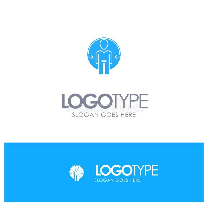 Άτομο, χρήστης, σύνδεση, ταυτότητα, μπλε στερεό λογότυπο ταυτότητας με τη θέση για το tagline ελεύθερη απεικόνιση δικαιώματος