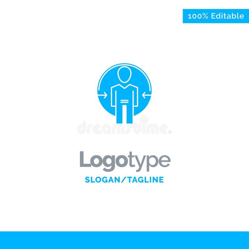 Άτομο, χρήστης, σύνδεση, ταυτότητα, μπλε στερεό πρότυπο λογότυπων ταυτότητας r διανυσματική απεικόνιση