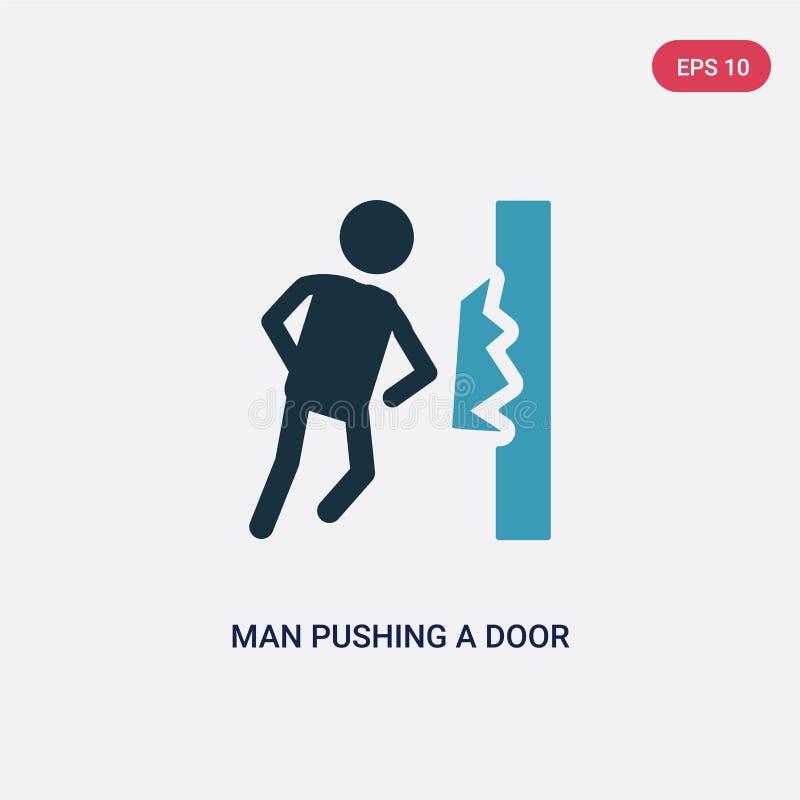 Άτομο χρώματος δύο που ωθεί μια πόρτα με το διανυσματικό εικονίδιο σωμάτων του από την έννοια ανθρώπων απομονωμένο μπλε άτομο που ελεύθερη απεικόνιση δικαιώματος