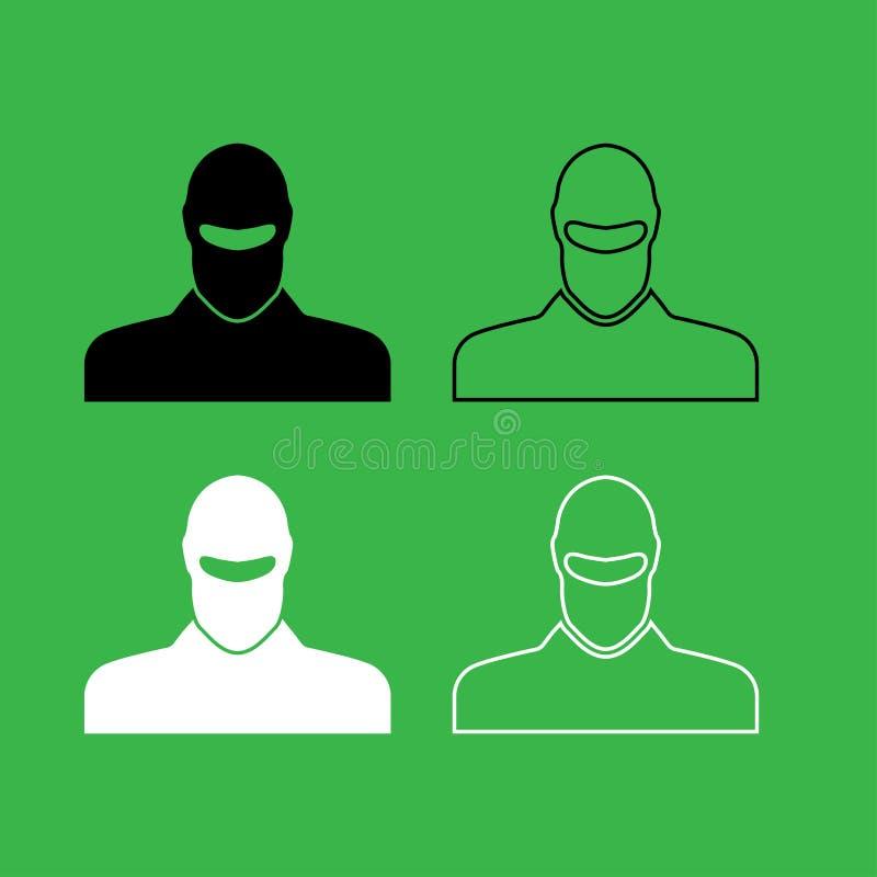 Άτομο balaclava ή εικονιδίων pasamontanas στο γραπτό σύνολο χρώματος ελεύθερη απεικόνιση δικαιώματος