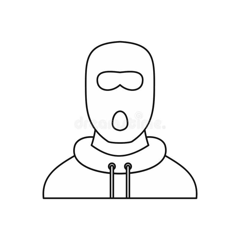Άτομο balaclava στο εικονίδιο μασκών, ύφος περιλήψεων απεικόνιση αποθεμάτων