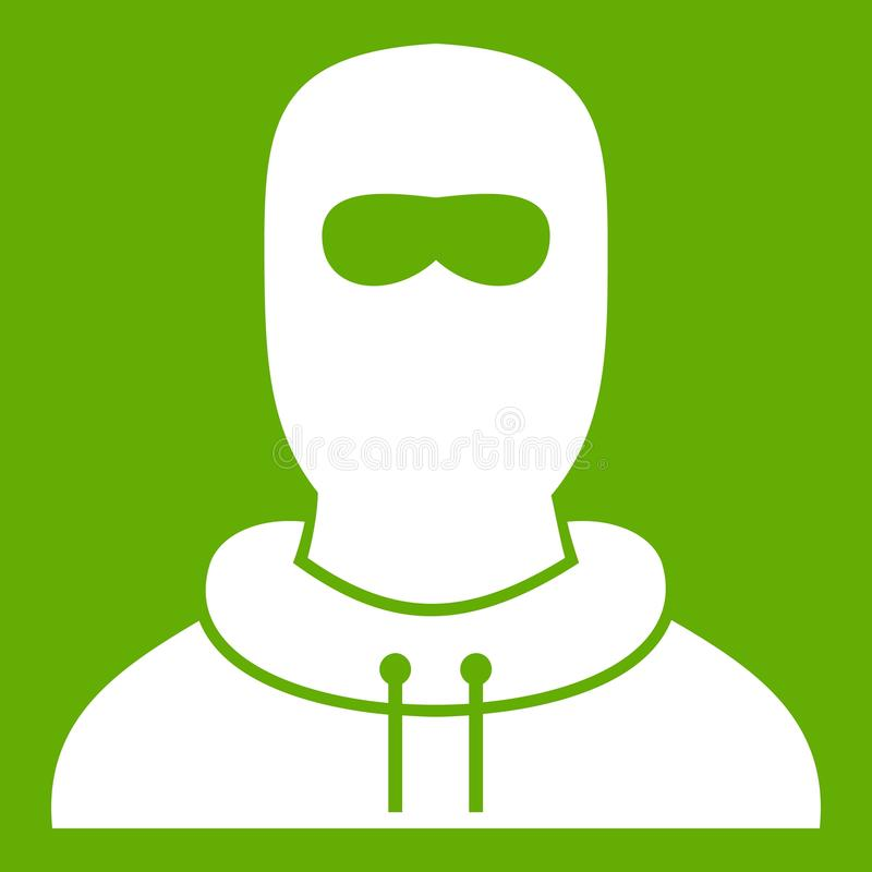 Άτομο balaclava στο εικονίδιο πράσινο απεικόνιση αποθεμάτων