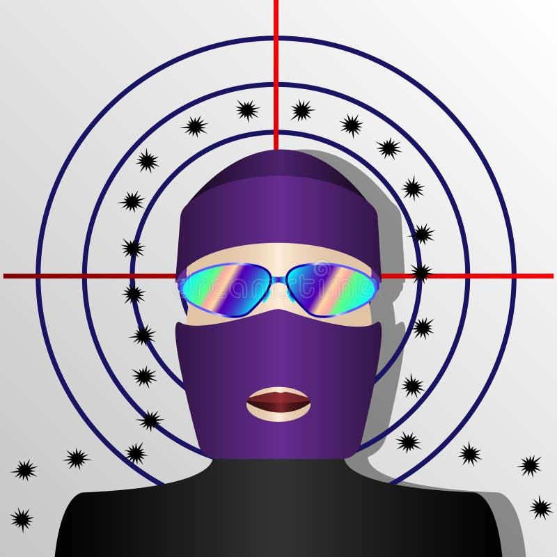 Άτομο balaclava στο υπόβαθρο του πυροβοληθε'ντος στόχου απεικόνιση αποθεμάτων