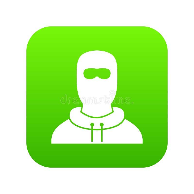 Άτομο balaclava ψηφιακό σε πράσινο εικονιδίων ελεύθερη απεικόνιση δικαιώματος