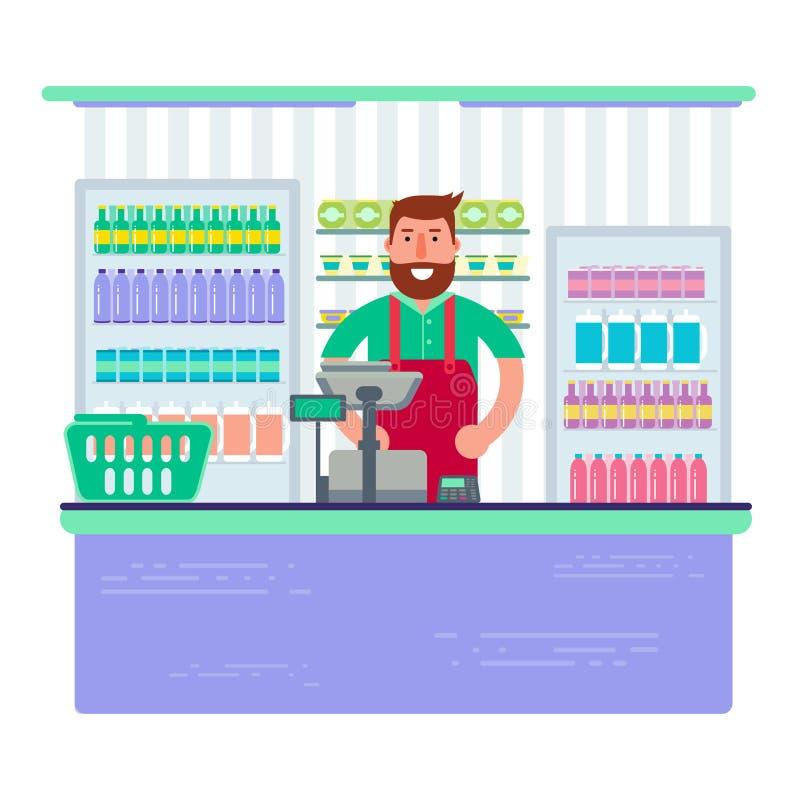 Άτομο Beardy που εργάζεται ως ταμίας στο κατάστημα ή την υπεραγορά Hipster σχετικά με ελεύθερη απεικόνιση δικαιώματος