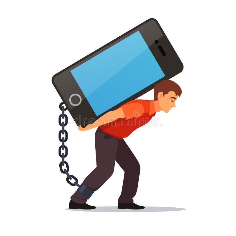 Άτομο Bended που φέρνει το μεγάλο και βαρύ κινητό τηλέφωνο ελεύθερη απεικόνιση δικαιώματος