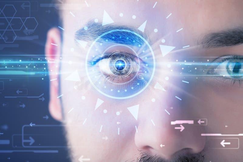 Άτομο Cyber με το technolgy μάτι που εξετάζει την μπλε ίριδα διανυσματική απεικόνιση