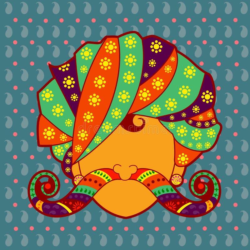 Άτομο Rajasthani με το τουρμπάνι και moustache διανυσματική απεικόνιση