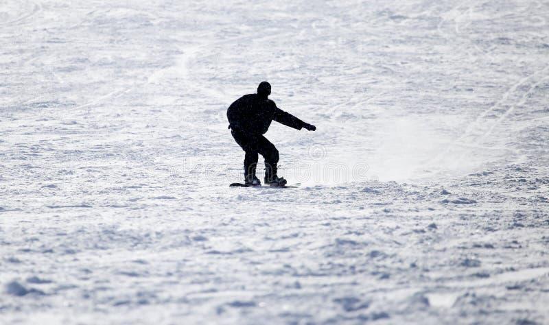 Άτομο Snowboarding ισιωμένος piste - κλίση στοκ φωτογραφία