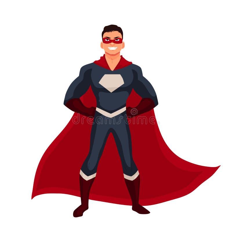 Άτομο Superhero στο ακρωτήριο και τα συνηθισμένα ενδύματα απεικόνιση αποθεμάτων