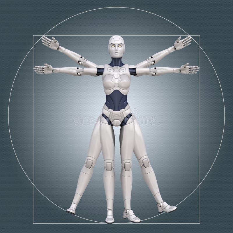 Άτομο Vitruvian, cyborg ελεύθερη απεικόνιση δικαιώματος