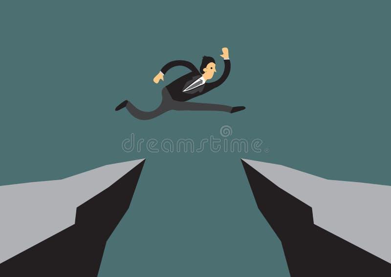 Άφοβος γενναίος επιχειρηματίας που πηδά πέρα από έναν απότομο βράχο για να φθάσει στην πίσσα του ελεύθερη απεικόνιση δικαιώματος