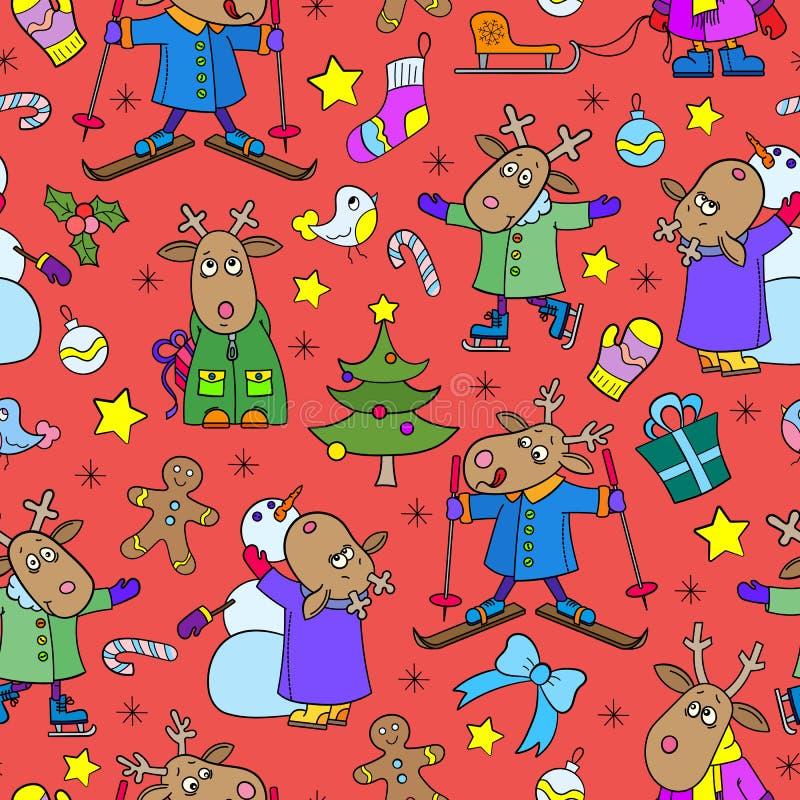 Άψογη απεικόνιση για τη νέα χρονιά και τα Χριστούγεννα, αστεία κινούμενα σχέδια για χειμερινή ψυχαγωγία, φωτεινά ζώα σε κόκκινο φ απεικόνιση αποθεμάτων