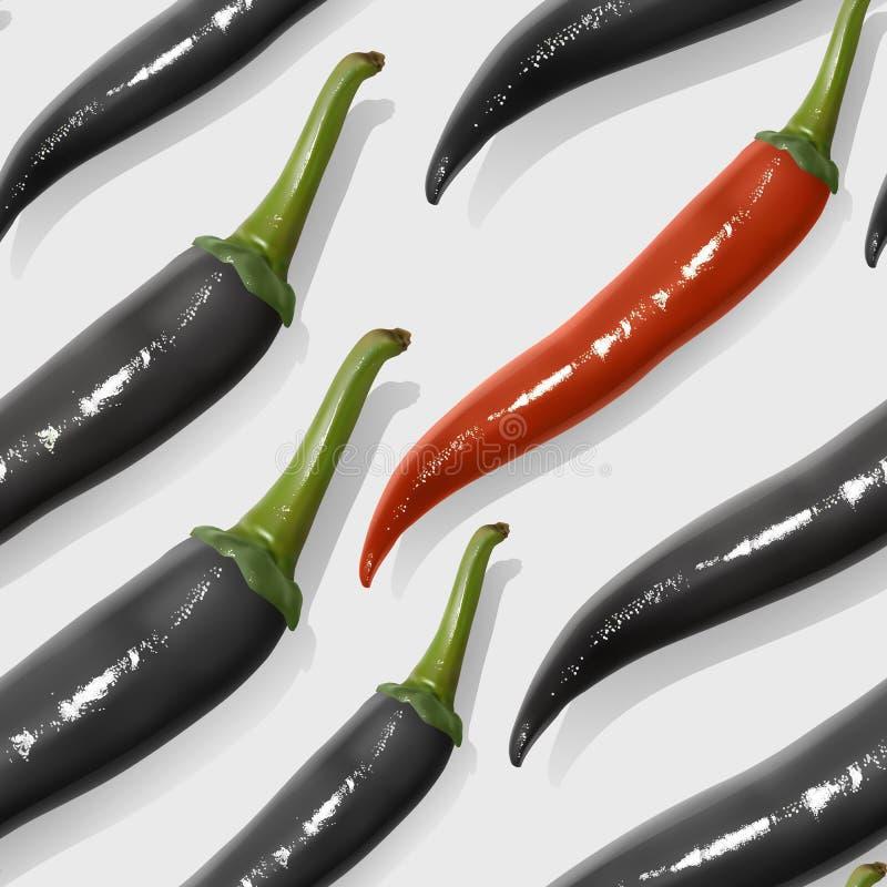 Άψογο μοτίβο με ρεαλιστικές μεξικάνικες καυτές πιπεριές, τσίλι με κόκκ ελεύθερη απεικόνιση δικαιώματος