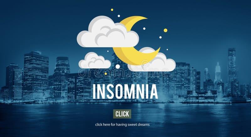 Άϋπνος συμπυκνωμένος αναταραχών στερήσεων ύπνου αϋπνίας ασφυξίας ύπνου διανυσματική απεικόνιση