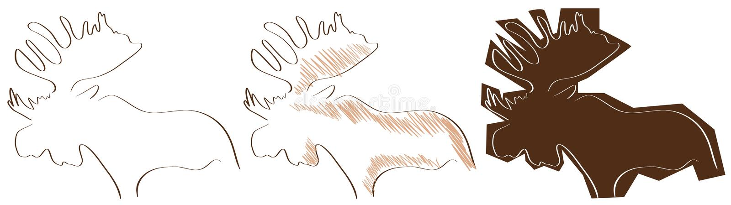 Άλκες που απομονώνονται τυποποιημένες στο Μαύρο ελεύθερη απεικόνιση δικαιώματος