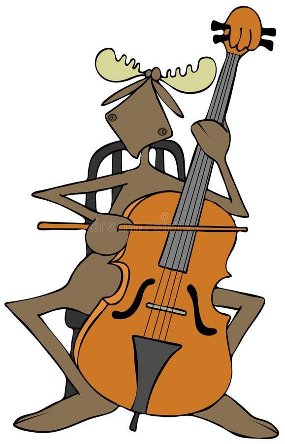 Άλκες που παίζουν ένα βιολοντσέλο ελεύθερη απεικόνιση δικαιώματος