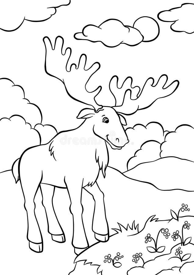 Άλκες που στέκονται στο δάσος και που εξετάζουν τα μούρα διανυσματική απεικόνιση