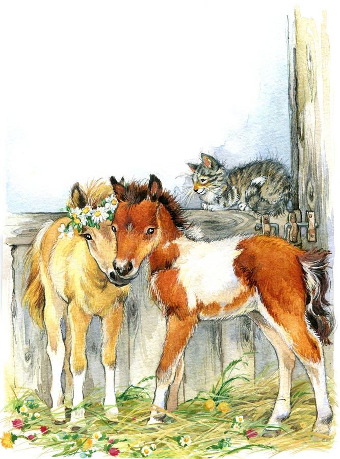 Άλογο και και γάτα Ανασκόπηση με το λουλούδι απεικόνιση ελεύθερη απεικόνιση δικαιώματος