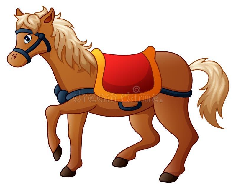 Άλογο κινούμενων σχεδίων με τη σέλα διανυσματική απεικόνιση