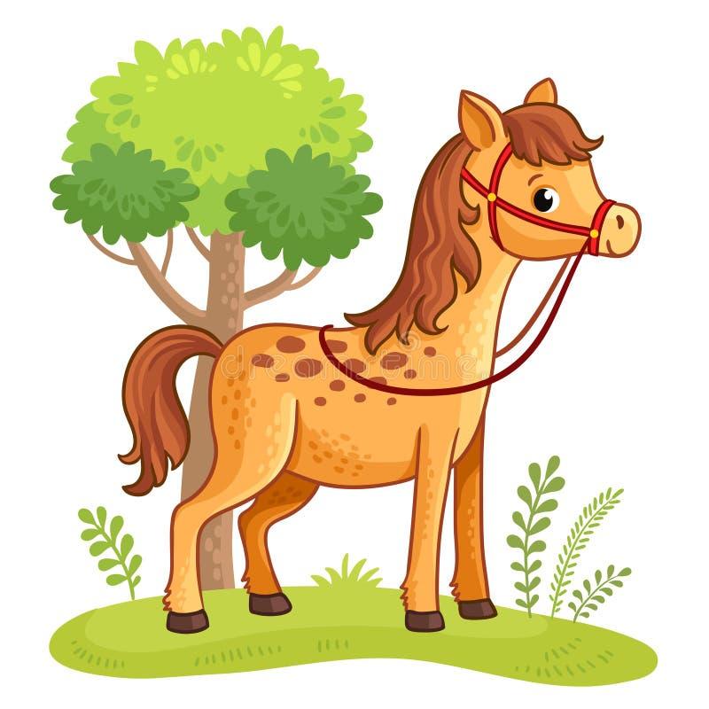 Άλογο κινούμενων σχεδίων που στέκεται σε ένα λιβάδι διανυσματική απεικόνιση