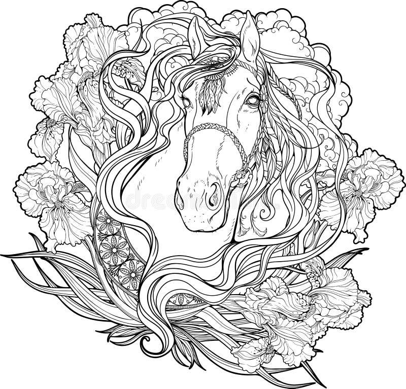 Άλογο με τα σύννεφα, τα λουλούδια και τα φύλλα Χρωματίζοντας σελίδα απεικόνιση αποθεμάτων