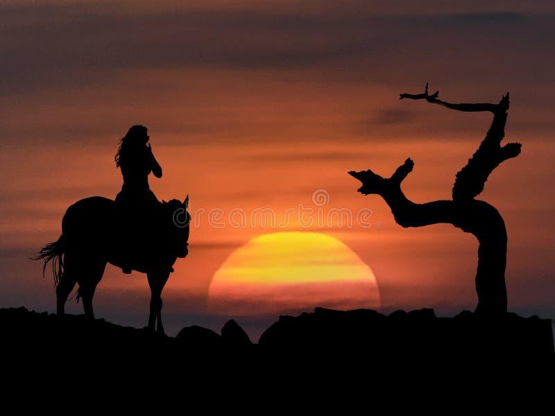 Άλογο οδήγησης γυναικών στο ηλιοβασίλεμα διανυσματική απεικόνιση