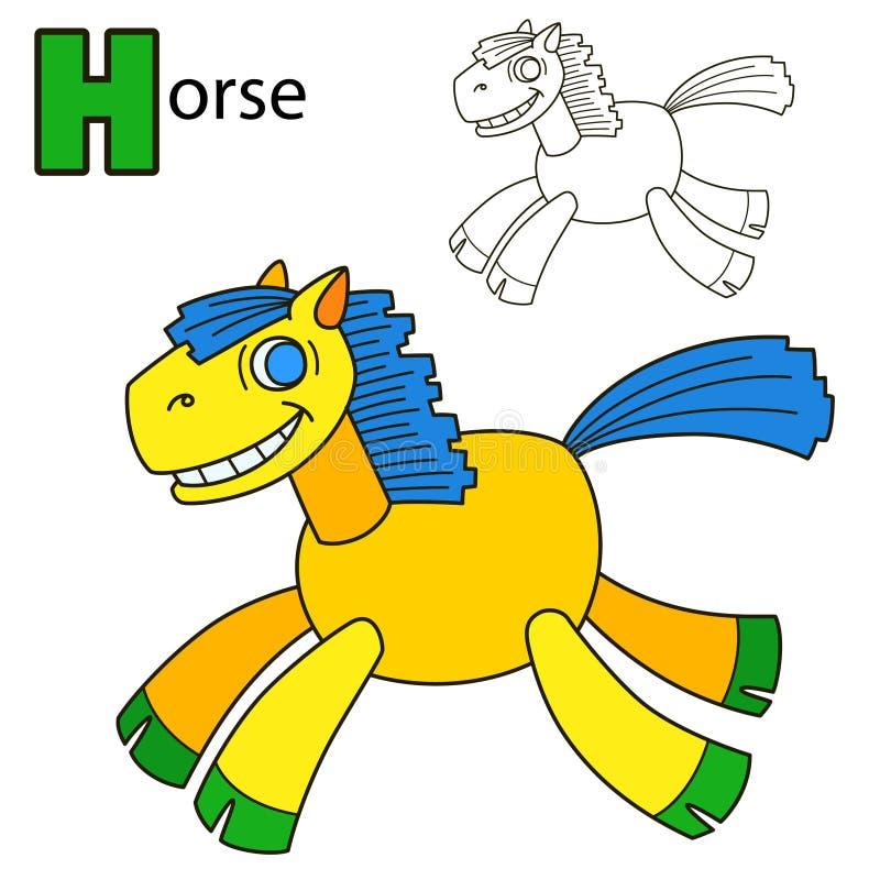 Άλογο Χρωματίζοντας σελίδα βιβλίων ελεύθερη απεικόνιση δικαιώματος