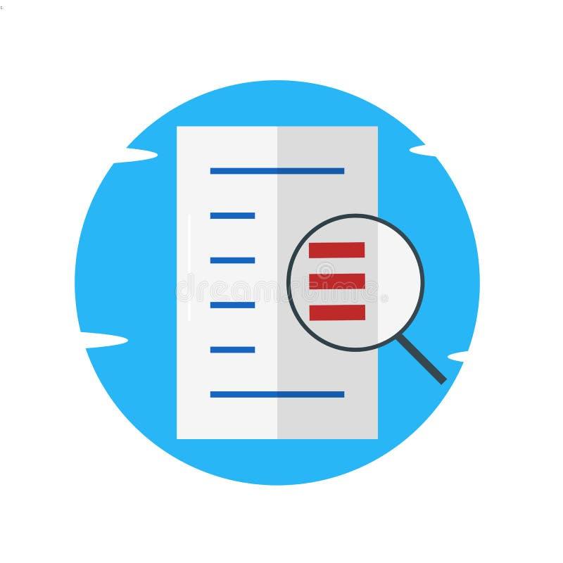 Έγγραφα αναζήτησης, έγγραφο, ενίσχυση - απεικόνιση γυαλιού διανυσματική απεικόνιση