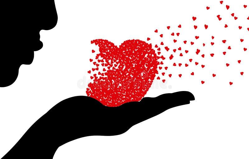 έγγραφο αγάπης καρτών ανασκόπησης grunge Φυσώντας καρδιές γυναικών σκιαγραφιών διανυσματική απεικόνιση