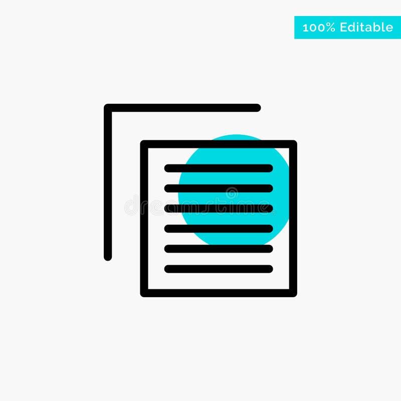 Έγγραφο, αρχείο, χρήστης, διανυσματικό εικονίδιο σημείου κυριώτερων κύκλων διεπαφών τυρκουάζ διανυσματική απεικόνιση