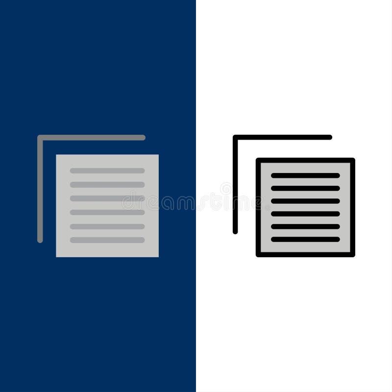 Έγγραφο, αρχείο, χρήστης, εικονίδια διεπαφών Επίπεδος και γραμμή γέμισε το καθορισμένο διανυσματικό μπλε υπόβαθρο εικονιδίων διανυσματική απεικόνιση