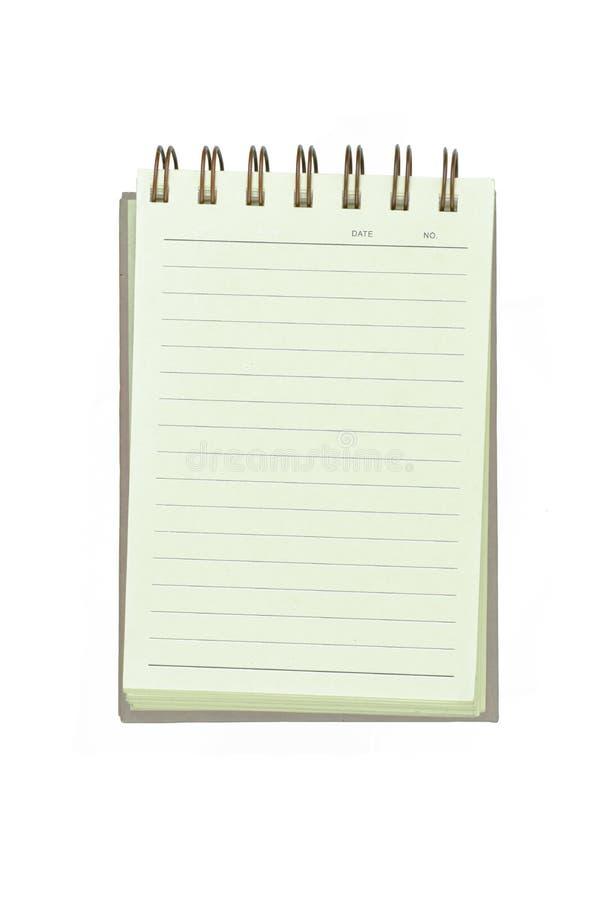 Έγγραφο βιβλίων σημειώσεων που απομονώνεται στο άσπρο υπόβαθρο στοκ φωτογραφίες