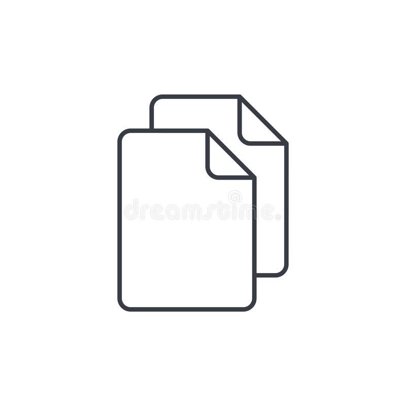 Έγγραφο εγγράφου, λεπτό εικονίδιο γραμμών αντιγράφων αρχείων Γραμμικό διανυσματικό σύμβολο απεικόνιση αποθεμάτων