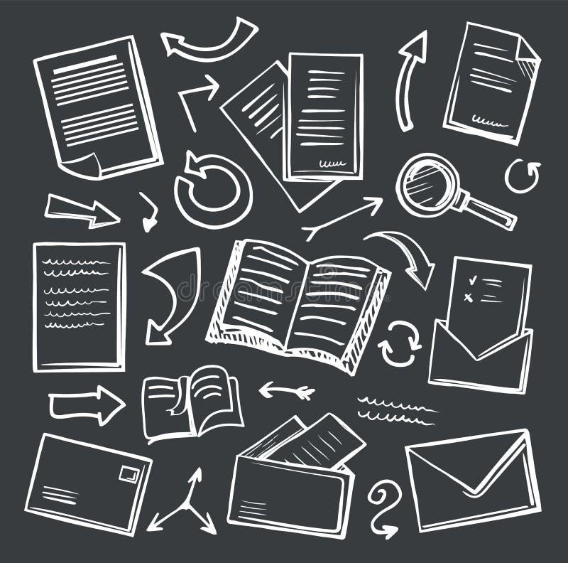 Έγγραφο και ενίσχυση γραφείων - διάνυσμα εικονιδίων γυαλιού ελεύθερη απεικόνιση δικαιώματος