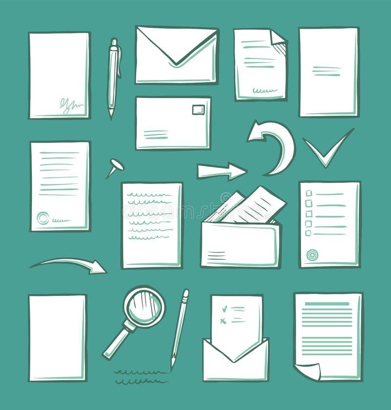 Έγγραφο και ενίσχυση γραφείων - εικονίδια γυαλιού καθορισμένα διανυσματικά ελεύθερη απεικόνιση δικαιώματος
