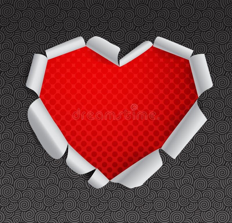 έγγραφο καρδιών που σχίζεται διανυσματική απεικόνιση