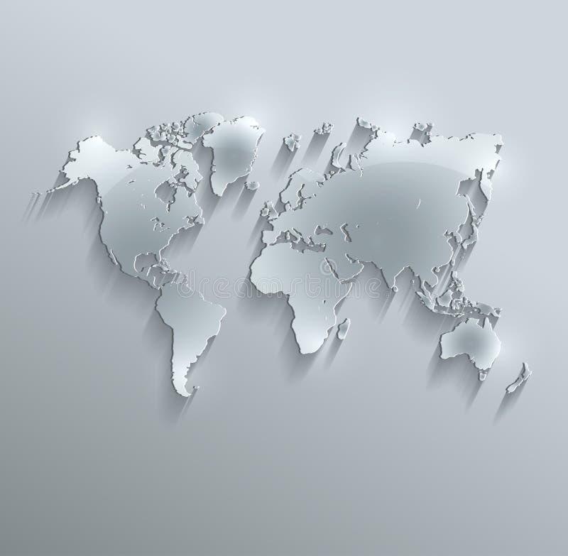 Έγγραφο καρτών γυαλιού παγκόσμιων χαρτών τρισδιάστατο διανυσματική απεικόνιση