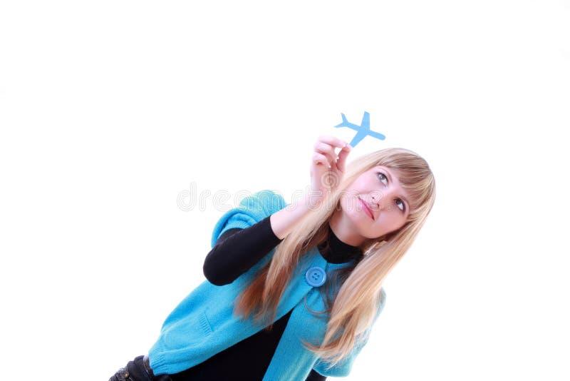 έγγραφο κοριτσιών αεροπ&la στοκ εικόνα με δικαίωμα ελεύθερης χρήσης
