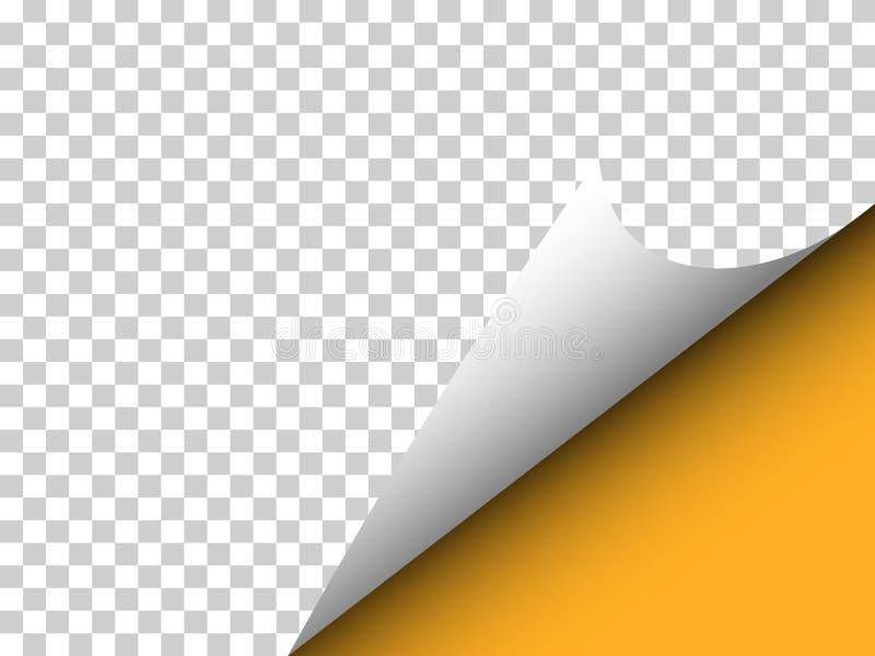 Έγγραφο με τη σγουρή γωνία και σκιά στη διαφάνεια - διανυσματικό illu στοκ φωτογραφία με δικαίωμα ελεύθερης χρήσης