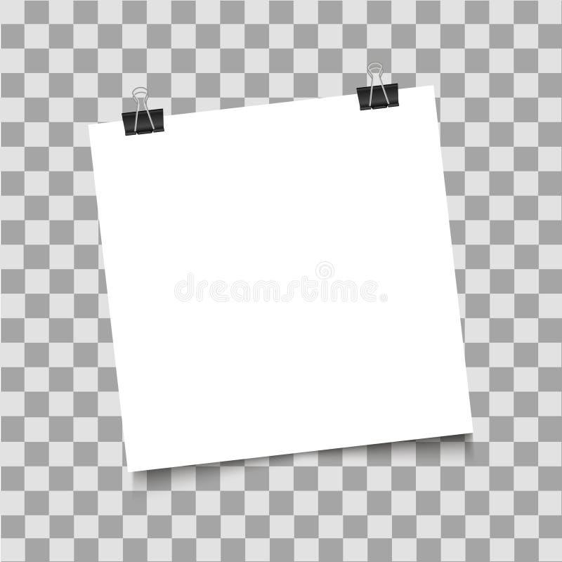 Έγγραφο με το συνδετήρα συνδέσμων με τη σκιά στο διαφανές υπόβαθρο επίσης corel σύρετε το διάνυσμα απεικόνισης απεικόνιση αποθεμάτων