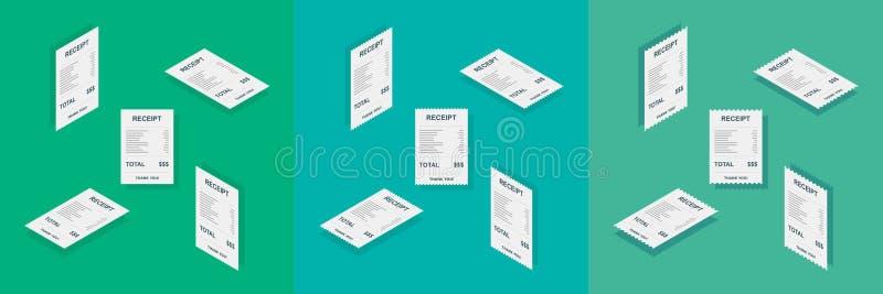 Έγγραφο παραλαβών, Isometric, έλεγχος του Μπιλ, τιμολόγιο, παραλαβή μετρητών, πληρωμή της χρησιμότητας, διανυσματικό, επίπεδο εικ διανυσματική απεικόνιση