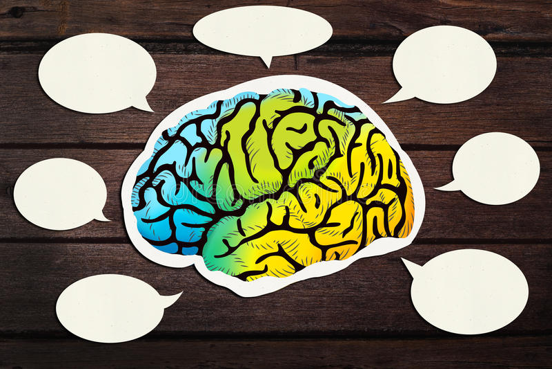 Έγγραφο που κόβεται κενό με την ομιλία εγκεφάλου στοκ εικόνα